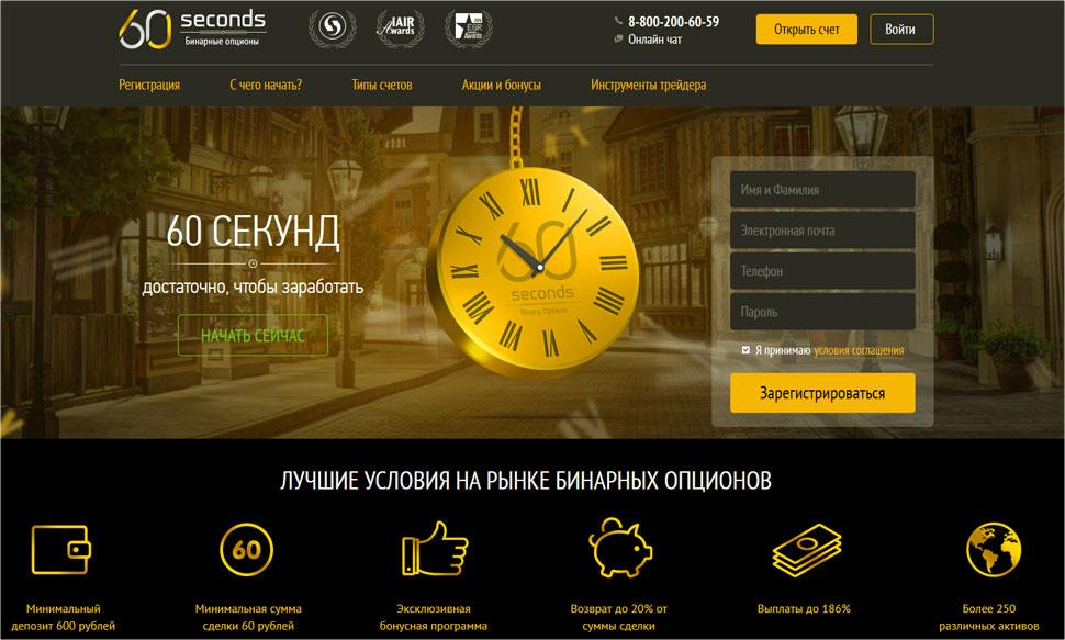 60seconds— отзывы трейдеров о брокере бинарных опционов и подробный обзор компании