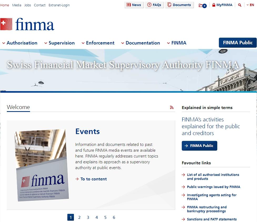 Официальный сайт FINMA