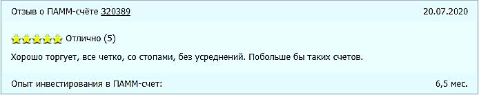 Отзыв пользователя об управлении ПАММ-счетом