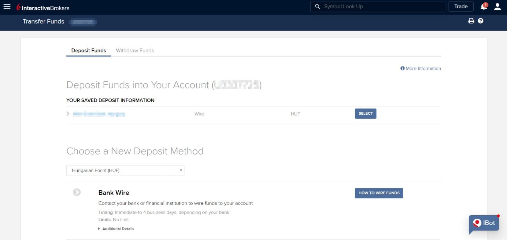 Пополнение депозита на Interactive Brokers