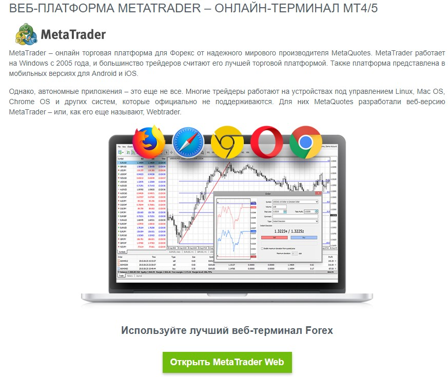 Вэб платформа JustForex
