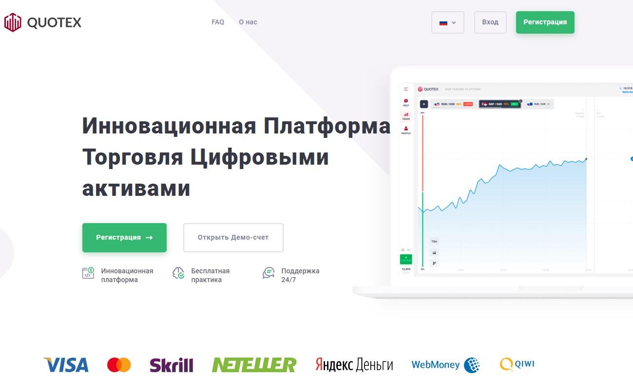 Сайт брокера Quotex.io