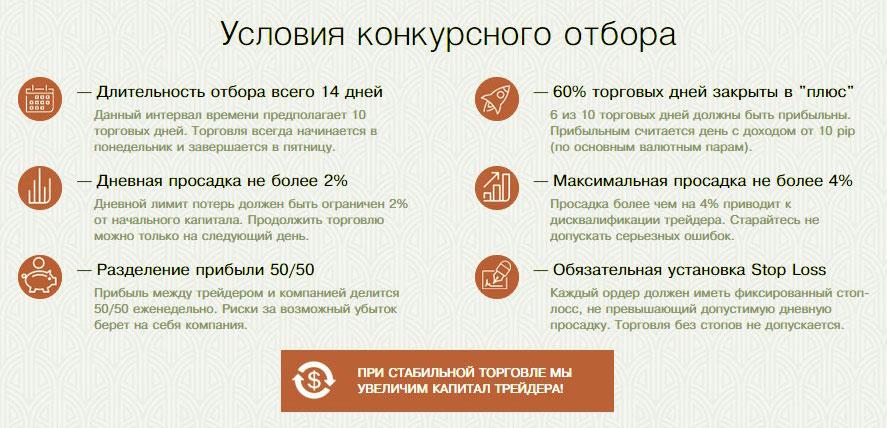 Правила конкурса у ПропФорекс