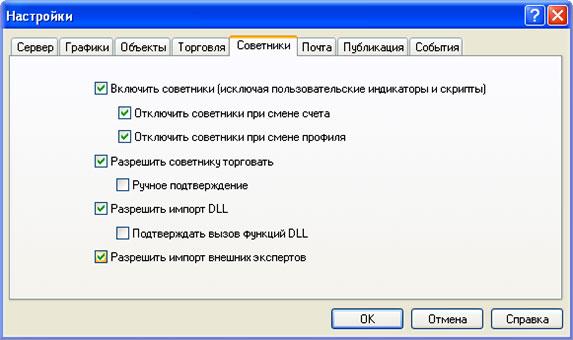 параметры советника, с использованием в MT4
