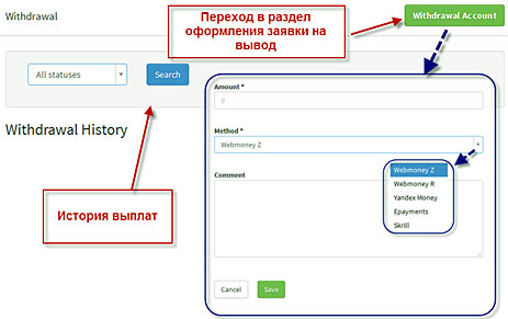кнопка вывод и процесс