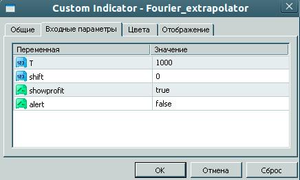 Настройки с описанием экстраполятора Фурье