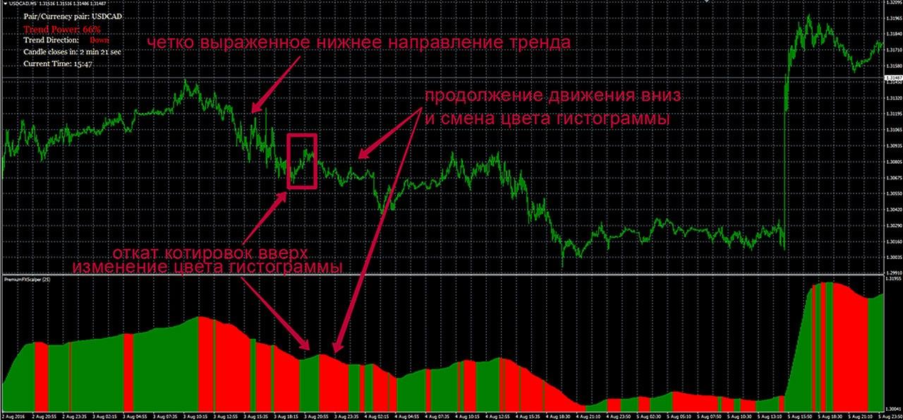 Сигнал индикатора Scalper Dream о продолжении тренда
